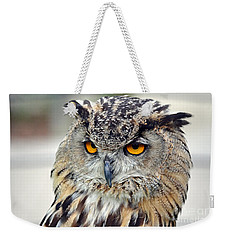 Portrait Of A Great Horned Owl II Weekender Tote Bag by Jim Fitzpatrick