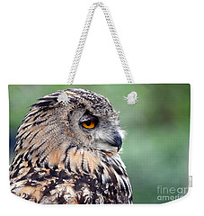 Portrait Of A Great Horned Owl Weekender Tote Bag by Jim Fitzpatrick
