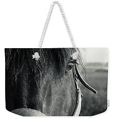 Portrait Of Horse In Black And White Weekender Tote Bag by Peter v Quenter