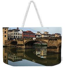 Postcard From Florence - Arno River And Ponte Santa Trinita  Weekender Tote Bag