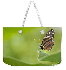 Weekender Tote Bag featuring the photograph Postman On A Leaf by Bryan Keil