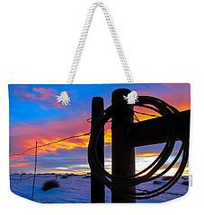 Prairie Fence Sunset Weekender Tote Bag