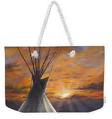 Weekender Tote Bag featuring the painting Prairie Sunset by Kim Lockman