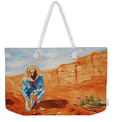 Weekender Tote Bag featuring the painting Prayer For Earth Mother by Ellen Levinson