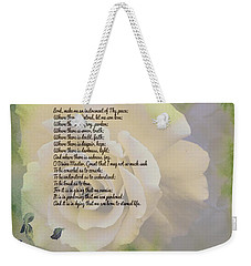 Prayer Of St. Francis And Yellow Rose Weekender Tote Bag