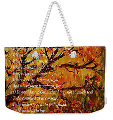 Prayer Of St. Francis Of Assisi  And Cherry Blossoms Weekender Tote Bag