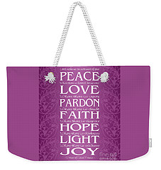 Prayer Of St Francis - Victorian Radiant Orchid Weekender Tote Bag