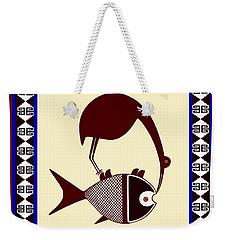 Weekender Tote Bag featuring the digital art Pre-columbian Stork Fish by Vagabond Folk Art - Virginia Vivier