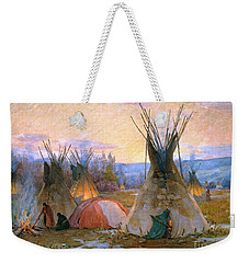 Weekender Tote Bag featuring the painting Preparing For The Medicine Sweat by Pg Reproductions