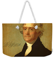 President Thomas Jefferson Portrait And Signature Weekender Tote Bag by Design Turnpike