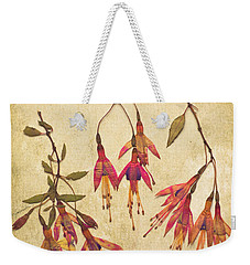 Pressed Fuchsia Flowers Weekender Tote Bag by Jan Bickerton