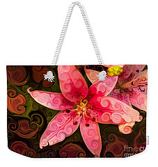 Weekender Tote Bag featuring the painting Pretty In Pink by Omaste Witkowski