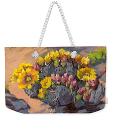 Prickly Pear Cactus In Bloom Weekender Tote Bag by Diane McClary