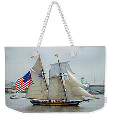 Pride Of Baltimore II Passing By Fort Mchenry Weekender Tote Bag by Mark Dodd