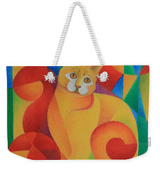 Weekender Tote Bag featuring the painting Primary Cat II by Pamela Clements