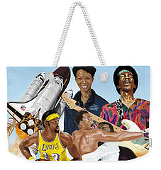 Weekender Tote Bag featuring the digital art Jimi, Muhammad Ali, Wilt Chamberlain And Mae Carol Jemison by Thomas J Herring