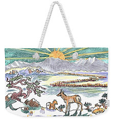 Pronghorn Winter Sunrise Weekender Tote Bag