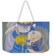 Weekender Tote Bag featuring the painting Proposal by Marina Gnetetsky