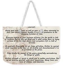 Prose Poem Desiderata By Max Ehrmann  Weekender Tote Bag