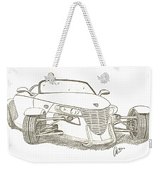 Weekender Tote Bag featuring the drawing Prowler Sketch by Chris Thomas