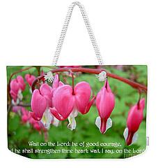 Psalms 27 14 Bleeding Hearts Weekender Tote Bag