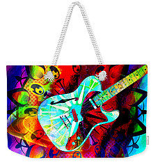 Psychedelic Guitar Weekender Tote Bag by Ally  White
