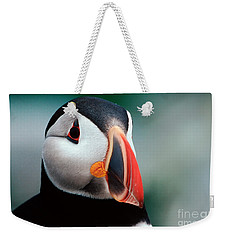 Puffin Head Shot Weekender Tote Bag by Jerry Fornarotto