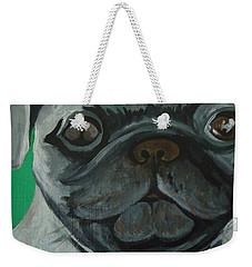 Weekender Tote Bag featuring the painting PUG by Leslie Manley