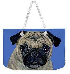Pug On Blue Weekender Tote Bag