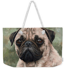 Pug Portrait Painting Weekender Tote Bag by Rachel Stribbling