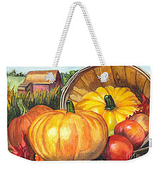 Weekender Tote Bag featuring the painting Pumpkin Pickin by Carol Wisniewski
