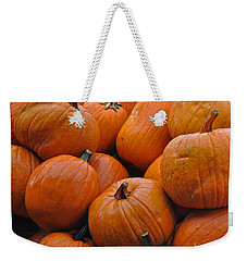 Weekender Tote Bag featuring the photograph Pumpkin Pile by Tikvah's Hope