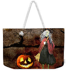 Pumpkinella The Magical Good Witch And Her Magical Cat Weekender Tote Bag by Colleen Taylor