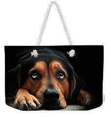 Weekender Tote Bag featuring the mixed media Puppy Dog Eyes by Christina Rollo