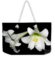 Pure White Easter Lilies Weekender Tote Bag by Rose Santuci-Sofranko