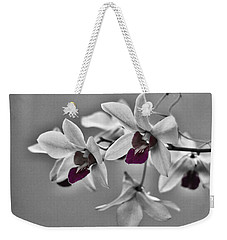 Purple And Pale Green Orchids - Black And White Weekender Tote Bag