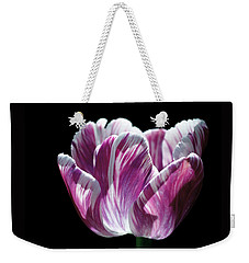 Purple And White Marbled Tulip Weekender Tote Bag by Rona Black