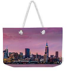 Purple City Weekender Tote Bag by Mihai Andritoiu