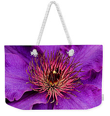 Weekender Tote Bag featuring the photograph Purple Clematis by Suzanne Stout