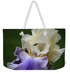 Weekender Tote Bag featuring the photograph Purple Cream Bearded Iris by Patti Deters