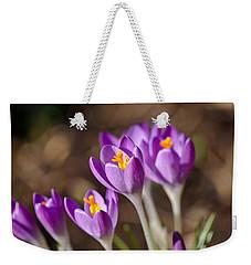 Purple Crocus Weekender Tote Bag by Scott Carruthers