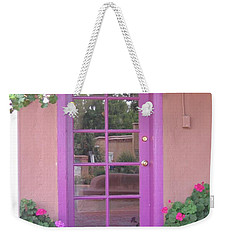 Weekender Tote Bag featuring the photograph Purple Door by Dora Sofia Caputo Photographic Art and Design