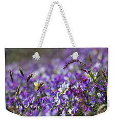 Purple Flower Bed Weekender Tote Bag