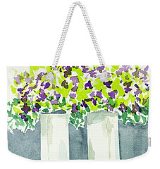 Weekender Tote Bag featuring the painting Purple Flowers Abstract by Frank Bright