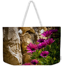 Purple Flowers And Rocks Weekender Tote Bag