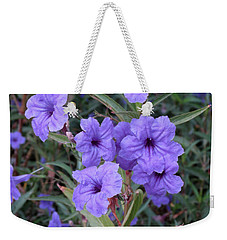 Weekender Tote Bag featuring the photograph Purple Flowers by Laurel Powell