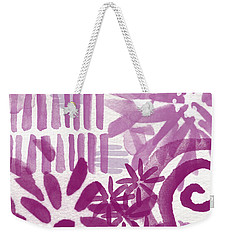Purple Garden - Contemporary Abstract Watercolor Painting Weekender Tote Bag by Linda Woods