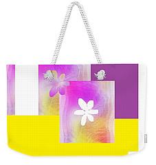 Weekender Tote Bag featuring the digital art Purple Glow Flower by Ann Calvo