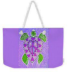 Purple Heart Turtle Weekender Tote Bag