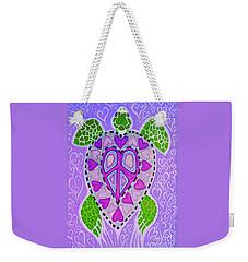 Purple Heart Turtle Weekender Tote Bag by Nick Gustafson